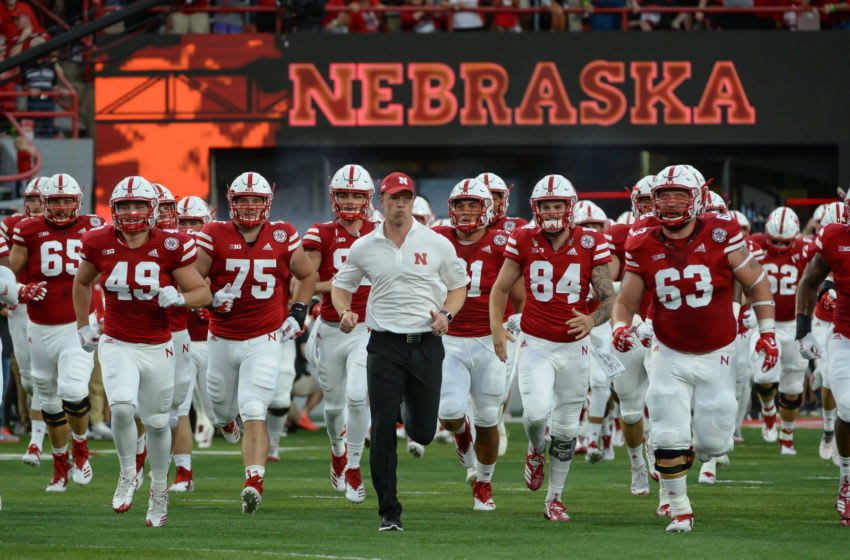 LINCOLN, NE - SEPTEMBER 01: Head coach Scott Frost of the Nebraska Cornhuskers leads the team on the field before the game against the Akron Zips at Memorial Stadium on September 1, 2018 in Lincoln, Nebraska. (Photo by Steven Branscombe/Getty Images)