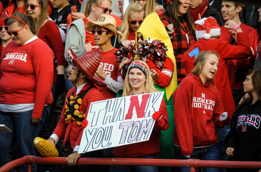 LINCOLN, NE - NOVEMBER 17: Nebraska Cornhuskers football and it's fans gave special thanks to retiring Athletic Director and former coach Tom Osborne during pre game activities of their game against the Minnesota Golden Gophers at Memorial Stadium on November 17, 2012 in Lincoln, Nebraska. Nebraska won 38-14. (Photo by Eric Francis/Getty Images)