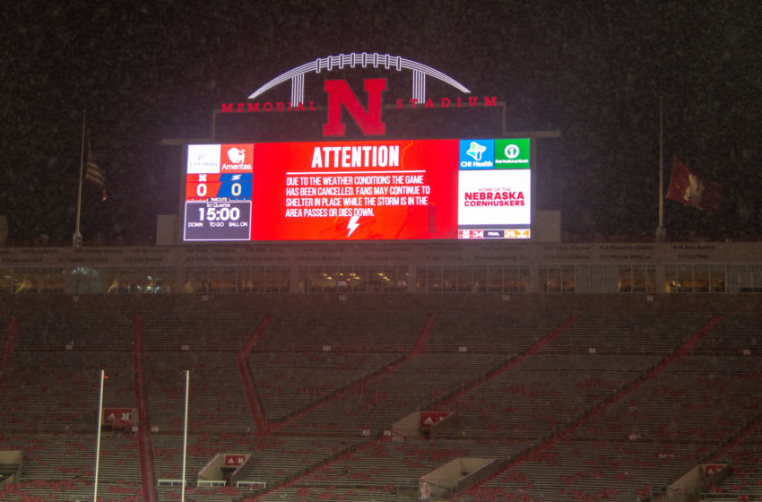 LINCOLN, NE - SEPTEMBER 01: Signage on the scoreboard indicating the game between the Nebraska Cornhuskers and the Akron Zips has been cancelled at Memorial Stadium on September 1, 2018 in Lincoln, Nebraska. (Photo by Steven Branscombe/Getty Images)