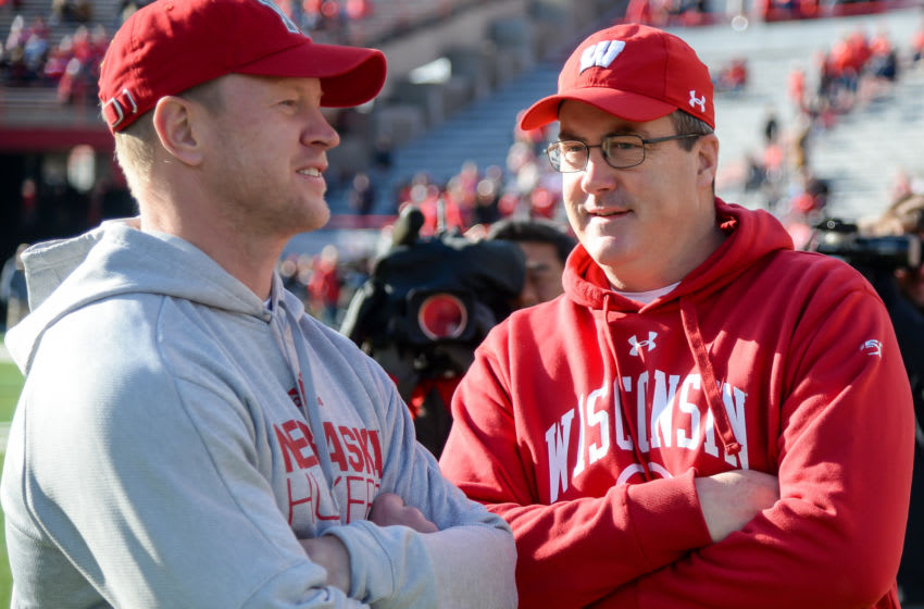 LINCOLN, NE - NOVEMBER 16: Head coach Scott Frost of the Nebraska Cornhuskers and head coach Paul Chryst of the Wisconsin Badgers talk before the game at Memorial Stadium on November 16, 2019 in Lincoln, Nebraska. (Photo by Steven Branscombe/Getty Images)