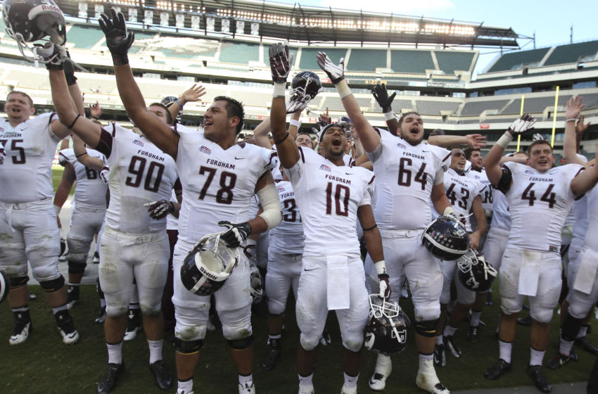 The Fordham Rams celebrate their win against Temple University Owls (Photo by Mitchell Leff/Getty Images)