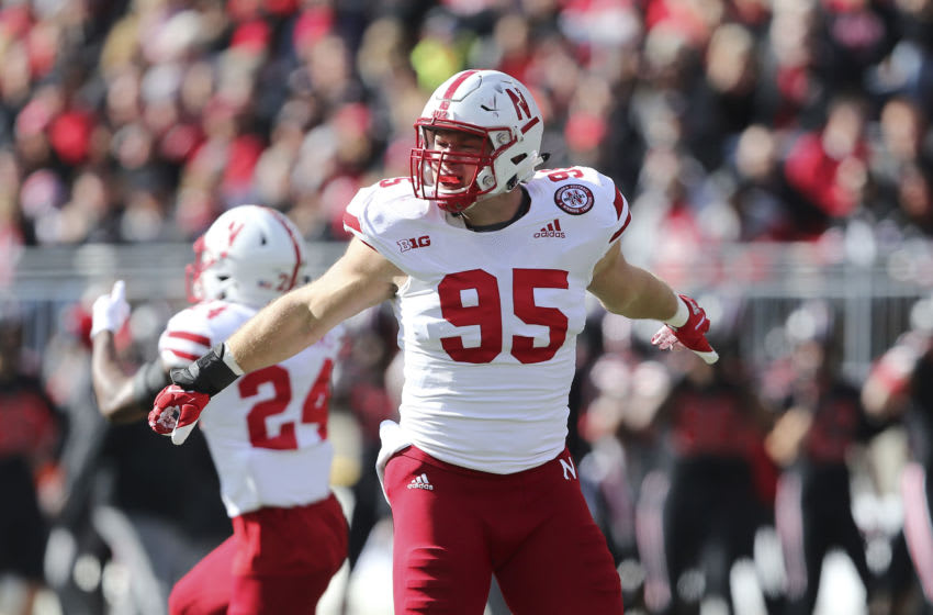 Nov 3, 2018; Columbus, OH, USA; Nebraska Cornhuskers defensive lineman Ben Stille (95) celebrates after a fourth down stop against the Ohio State Buckeyes during the first quarter at Ohio Stadium. Mandatory Credit: Joe Maiorana-USA TODAY Sports