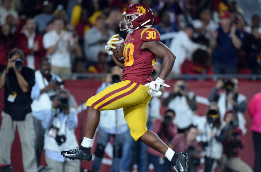 October 19, 2019; Los Angeles, CA, USA; Southern California Trojans running back Markese Stepp (30) runs the ball in for a touchdown against the Arizona Wildcats during the first half at the Los Angeles Memorial Coliseum. Mandatory Credit: Gary A. Vasquez-USA TODAY Sports