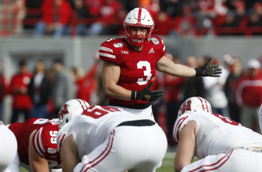 Nov 16, 2019; Lincoln, NE, USA; Nebraska Cornhuskers linebacker Will Honas (3) reacts during the game against the Wisconsin Badgers in the first half at Memorial Stadium. Mandatory Credit: Bruce Thorson-USA TODAY Sports