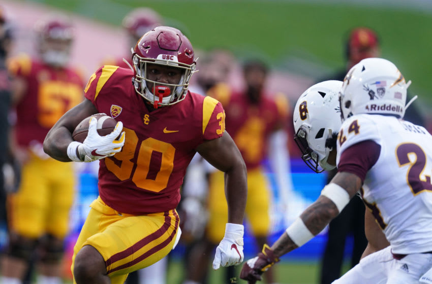 Nov 7, 2020; Los Angeles CA, USA; Southern California Trojans running back Markese Stepp (30) carries the ball in the first quarter against the Arizona State Sun Devils at the Los Angeles Memorial Coliseum. Mandatory Credit: Kirby Lee-USA TODAY Sports