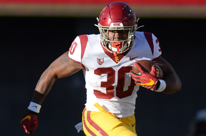 Nov 14, 2020; Tucson, Arizona, USA; USC Trojans running back Markese Stepp (30) runs with the ball against the Arizona Wildcats during the second half at Arizona Stadium. Mandatory Credit: Joe Camporeale-USA TODAY Sports