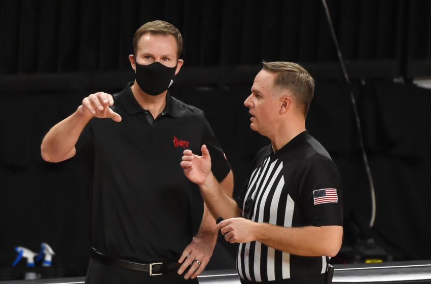 Jan 10, 2021; Lincoln, Nebraska, USA; Nebraska Cornhuskers head coach Fred Hoiberg discusses a call with an official in the game against the Indiana Hoosiers in the second half at Pinnacle Bank Arena. Mandatory Credit: Steven Branscombe-USA TODAY Sports