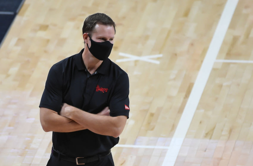 Jan 10, 2021; Lincoln, Nebraska, USA; Nebraska Cornhuskers head coach Fred Hoiberg watches action against the Indiana Hoosiers in the first half at Pinnacle Bank Arena. Mandatory Credit: Steven Branscombe-USA TODAY Sports