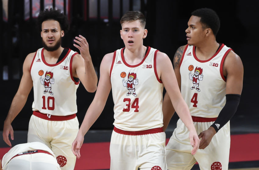 Feb 20, 2021; Lincoln, Nebraska, USA; Nebraska Cornhuskers guard Kobe Webster (10) and guard Thorir Thorbjarnarson (34) and guard Shamiel Stevenson (4) react to a call in the game against the Purdue Boilermakers in the first half at Pinnacle Bank Arena. Mandatory Credit: Steven Branscombe-USA TODAY Sports