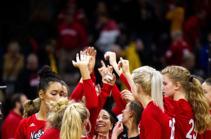 Nebraska players huddle up after an NCAA volleyball game on Wednesday, Nov. 7, 2018, at Carver-Hawkeye Arena in Iowa City. 181107 Volleyball Neb 025 Jpg