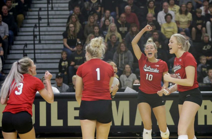 Nebraska celebrates a point during the fourth set of an NCAA women's volleyball game, Saturday, Oct. 26, 2019 at Holloway Gymnasium in West Lafayette. Vol Purdue Vs Nebraska