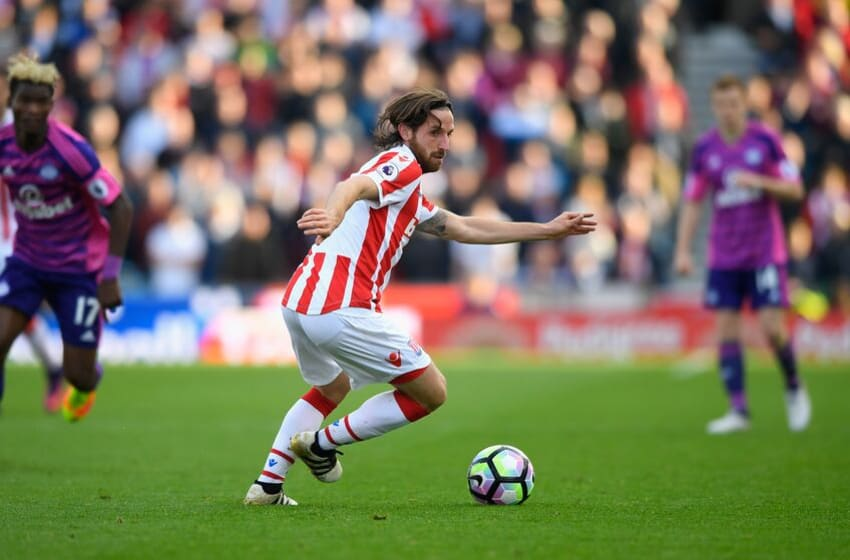 STOKE ON TRENT, ENGLAND - OCTOBER 15: Stoke player Joe Allen in action during the Premier League match between Stoke City and Sunderland at Bet365 Stadium on October 15, 2016 in Stoke on Trent, England. (Photo by Stu Forster/Getty Images)