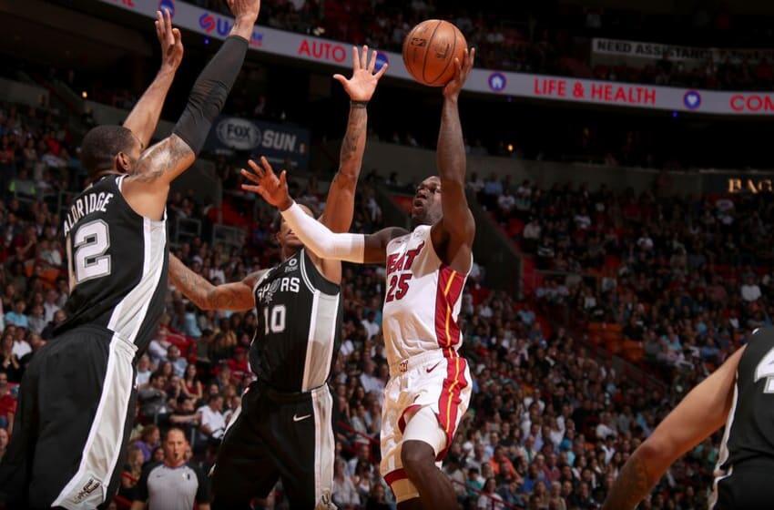 Kendrick Nunn #25 of the Miami Heat shoots the ball against the San Antonio Spurs (Photo by Issac Baldizon/NBAE via Getty Images)