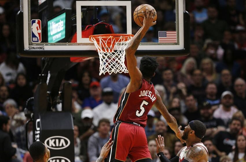 Derrick Jones Jr. #5 of the Miami Heat dunks against the Portland Trail Blazers (Photo by Michael Reaves/Getty Images)