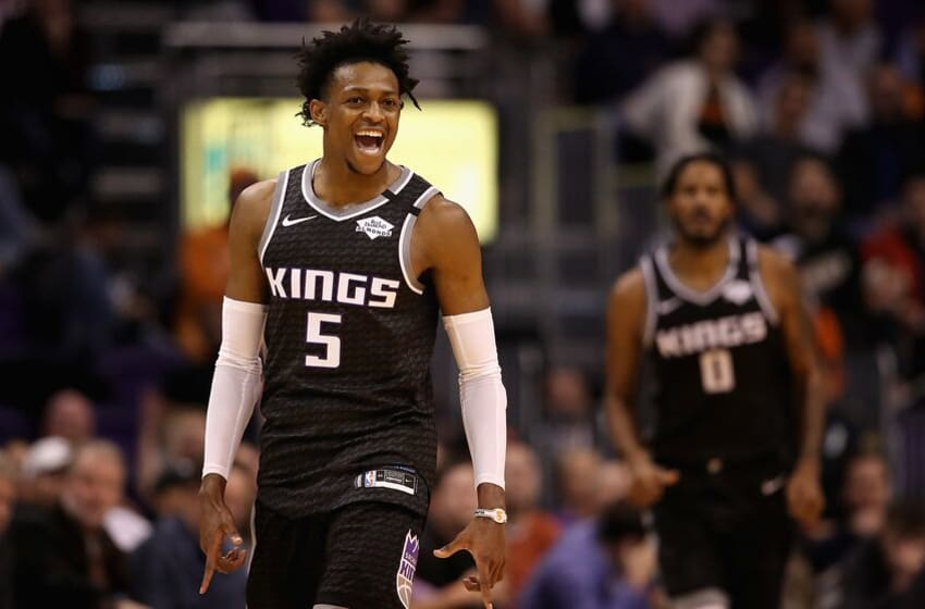 PHOENIX, ARIZONA - JANUARY 07: De'Aaron Fox #5 of the Sacramento Kings reacts after scoring against the Phoenix Suns during the second half the NBA game at Talking Stick Resort Arena on January 07, 2020 in Phoenix, Arizona. The Kings defeated the Suns 114-103. (Photo by Christian Petersen/Getty Images)