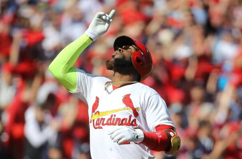 ST LOUIS, MISSOURI - OCTOBER 07: Marcell Ozuna #23 of the St. Louis Cardinals celebrates his solo home run against the Atlanta Braves during the first inning in game four of the National League Division Series at Busch Stadium on October 07, 2019 in St Louis, Missouri. (Photo by Scott Kane/Getty Images)