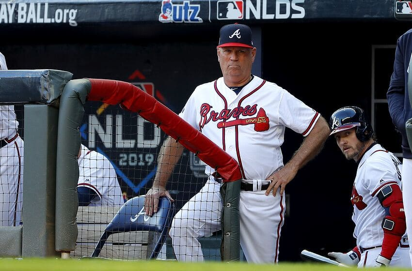 ATLANTA, GEORGIA - OCTOBER 09: Brian Snitker #43 of the Atlanta Braves reacts against the St. Louis Cardinals during the first inning in game five of the National League Division Series at SunTrust Park on October 09, 2019 in Atlanta, Georgia. (Photo by Kevin C. Cox/Getty Images)