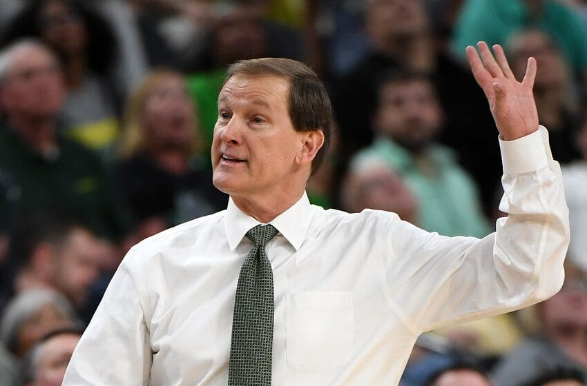 LAS VEGAS, NV - MARCH 09: Head coach Dana Altman of the Oregon Ducks signals his players during a semifinal game of the Pac-12 basketball tournament against the USC Trojans at T-Mobile Arena on March 9, 2018 in Las Vegas, Nevada. The Trojans won 74-54. (Photo by Ethan Miller/Getty Images)