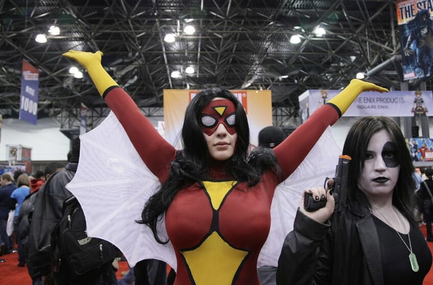 NEW YORK - FEBRUARY 07: Fans pose as their favorite comic book and science fiction characters 'Spider-Woman' and 'Domino' at the 2009 New York Comic Con at the Jacob Javits Center on February 7, 2009 in New York City. (Photo by Neilson Barnard/Getty Images)