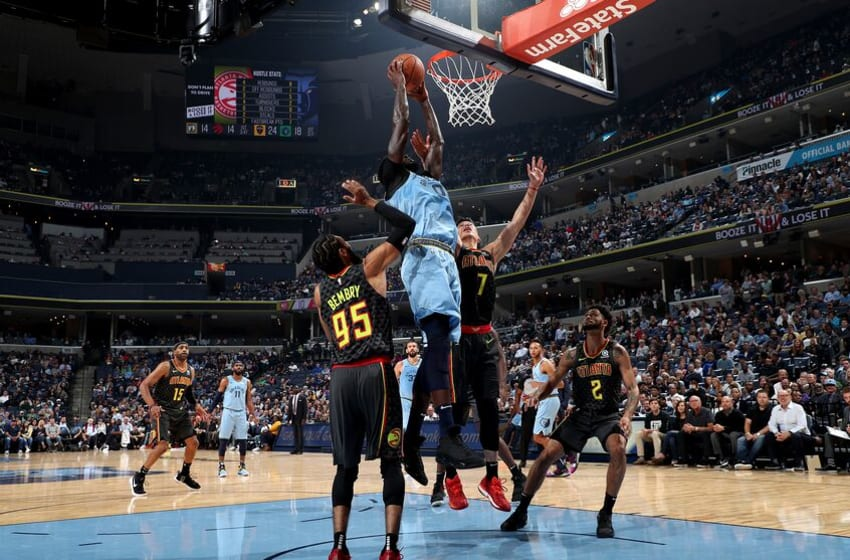 MEMPHIS, TN - OCTOBER 19: JaMychal Green #0 of the Memphis Grizzlies shoots the ball against the Atlanta Hawks during a game on October 19, 2018 at FedExForum in Memphis, Tennessee. NOTE TO USER: User expressly acknowledges and agrees that, by downloading and/or using this Photograph, user is consenting to the terms and conditions of the Getty Images License Agreement. Mandatory Copyright Notice: Copyright 2018 NBAE (Photo by Joe Murphy/NBAE via Getty Images)