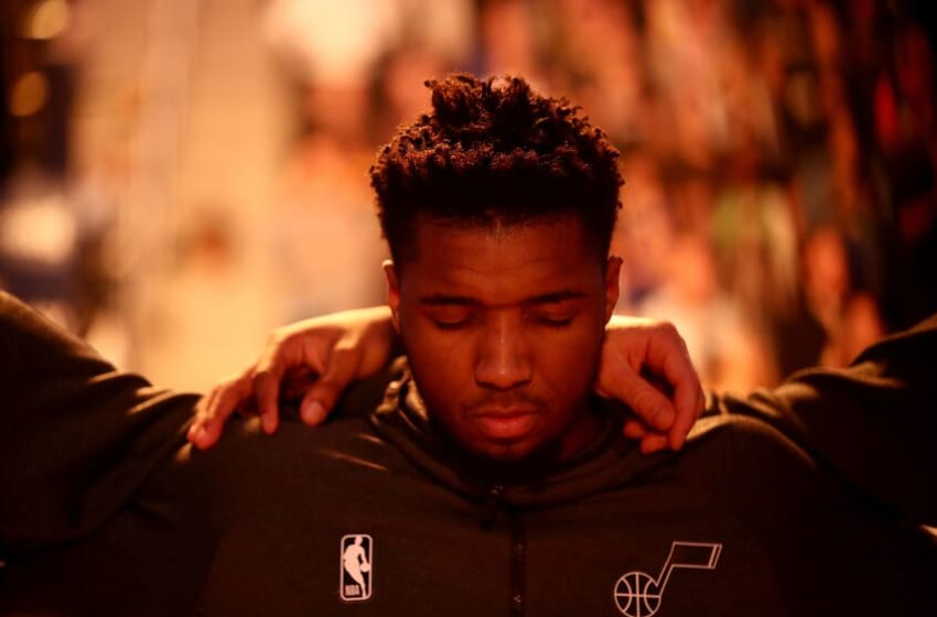 SAN FRANCISCO, CALIFORNIA - JANUARY 22: Donovan Mitchell #45 of the Utah Jazz stands for the National Anthem before their game against the Golden State Warriors at Chase Center on January 22, 2020 in San Francisco, California. NOTE TO USER: User expressly acknowledges and agrees that, by downloading and or using this photograph, User is consenting to the terms and conditions of the Getty Images License Agreement. (Photo by Ezra Shaw/Getty Images)