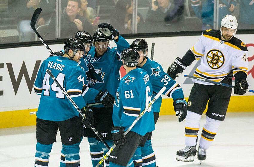 Mar 15, 2016; San Jose, CA, USA; San Jose Sharks right wing Melker Karlsson (68) celebrates scoring against the Boston Bruins in the first period at SAP Center at San Jose. Mandatory Credit: John Hefti-USA TODAY Sports.