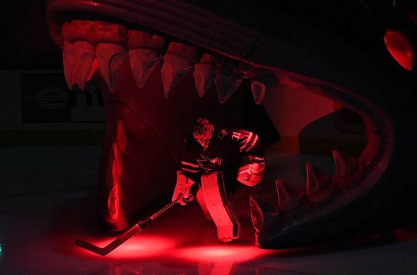 SAN JOSE, CALIFORNIA - MAY 19: Martin Jones #31 of the San Jose Sharks takes the ice against the St. Louis Blues prior to Game Five of the Western Conference Final during the 2019 NHL Stanley Cup Playoffs at SAP Center on May 19, 2019 in San Jose, California. (Photo by Thearon W. Henderson/Getty Images)
