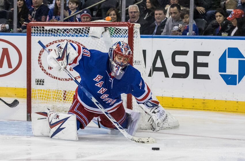 NEW YORK, NY - JANUARY 19: New York Rangers Goalie Igor Shesterkin (31) with a save during a regular season NHL game between the Columbus Blue Jackets and the New York Rangers on January 19, 2020, at Madison Square Garden in New York, NY. (Photo by David Hahn/Icon Sportswire via Getty Images)