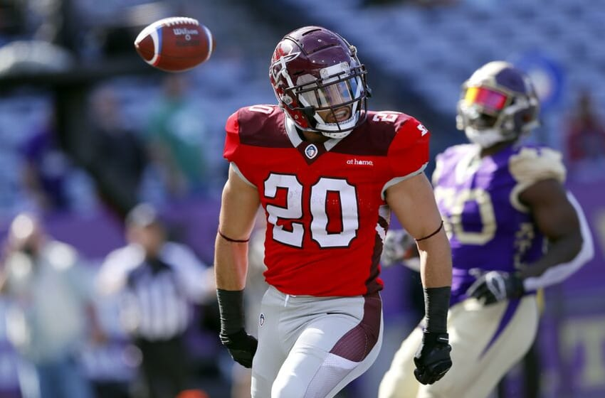 ATLANTA, GEORGIA - MARCH 17: Kenneth Farrow, II #20 of San Antonio Commanders celebrates his rushing touchdown against the Atlanta Legends during the first half in the Alliance of American Football game at Georgia State Stadium on March 17, 2019 in Atlanta, Georgia. (Photo by Kevin C. Cox/AAF/Getty Images)