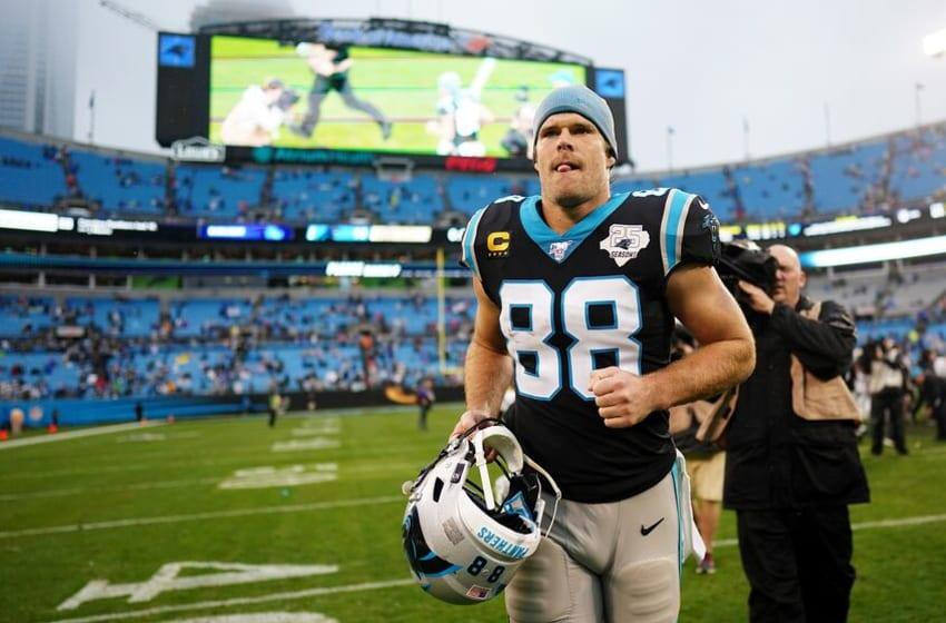 CHARLOTTE, NORTH CAROLINA - DECEMBER 29: Greg Olsen #88 of the Carolina Panthers walks off the field after their game against the New Orleans Saints at Bank of America Stadium on December 29, 2019 in Charlotte, North Carolina. (Photo by Jacob Kupferman/Getty Images)