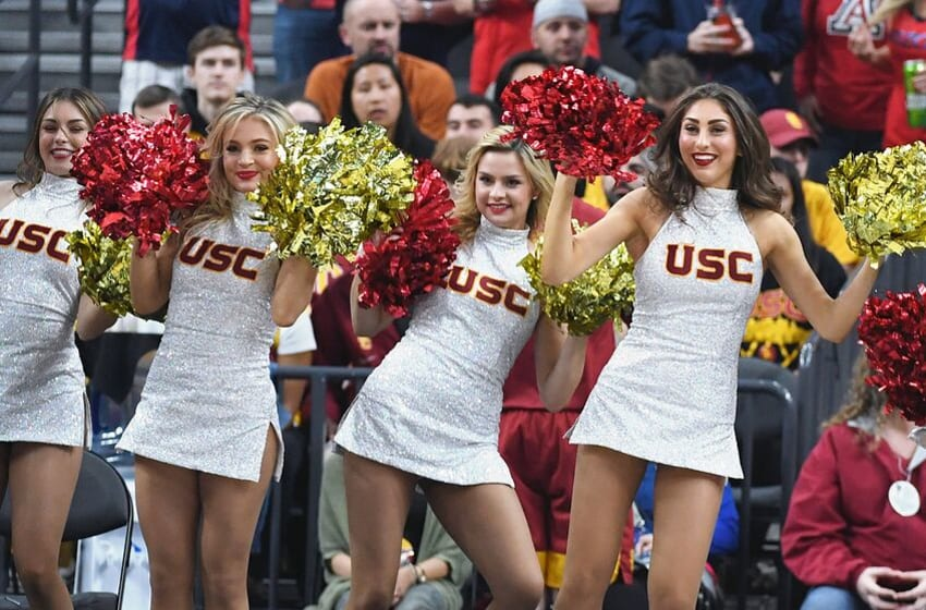 LAS VEGAS, NV - MARCH 10: USC Trojans cheerleaders perform during the championship game of the Pac-12 basketball tournament between the Trojans and the Arizona Wildcats at T-Mobile Arena on March 10, 2018 in Las Vegas, Nevada. The Wildcats won 75-61. (Photo by Ethan Miller/Getty Images)