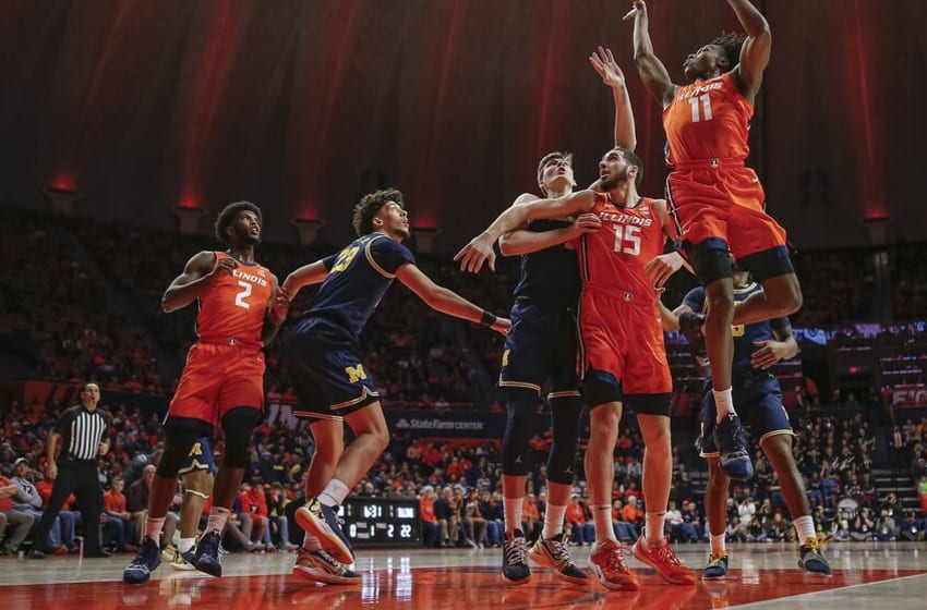 CHAMPAIGN, IL - DECEMBER 11: Ayo Dosunmu #11 of the Illinois Fighting Illini shoots the ball against the Michigan Wolverines during the first half at State Farm Center on December 11, 2019 in Champaign, Illinois. (Photo by Michael Hickey/Getty Images)
