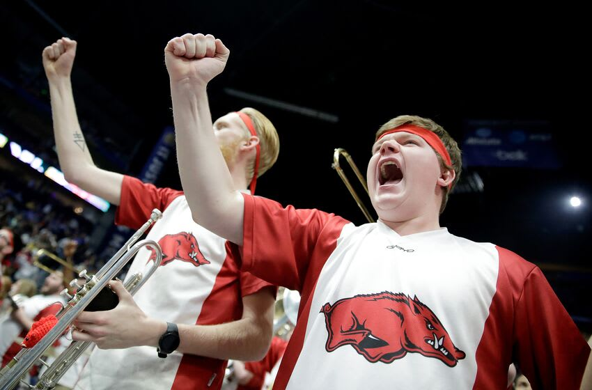 NASHVILLE, TN - MARCH 11: Members of the Arkansas Razorbacks bands cheer in the game against the Vanderbilt during the semifinals of the SEC Basketball Tournament at Bridgestone Arena on March 11, 2017 in Nashville, Tennessee. (Photo by Andy Lyons/Getty Images)