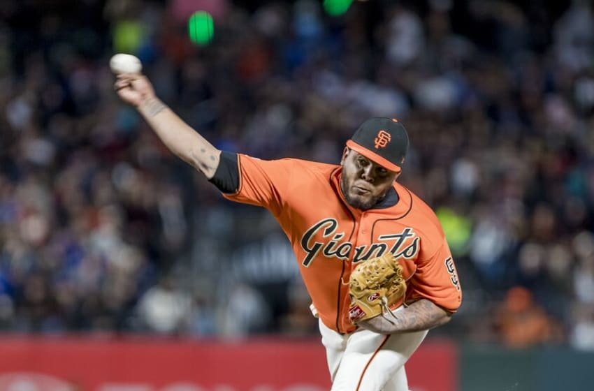 SAN FRANCISCO, CA - SEPTEMBER 28: San Francisco Giants Pitcher Reyes Moronta (54) throws a pitch in relief during the major league baseball game between the Los Angeles Dodgers and San Francisco Giants on September 28, 2018, at AT&T Park in San Francisco, CA. (Photo by Bob Kupbens/Icon Sportswire via Getty Images)