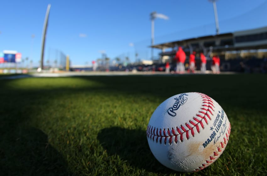 WEST PALM BEACH, FL - MARCH 09: A ball sits on the field as the St. Louis Cardinals take batting practice before a spring training game against the Houston Astros at FITTEAM Ball Park of the Palm Beaches on March 9, 2018 in West Palm Beach, Florida. (Photo by Rich Schultz/Getty Images)