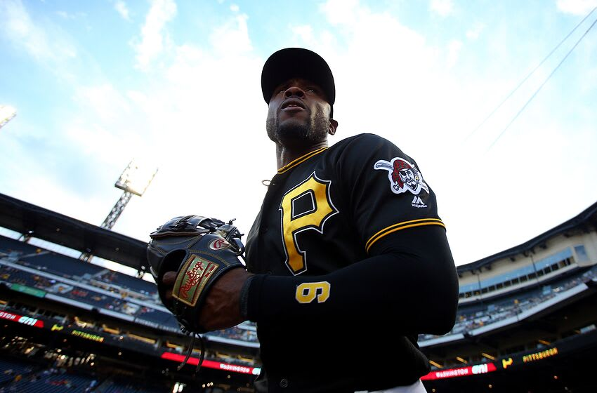 PITTSBURGH, PA - AUGUST 21: Starling Marte #6 of the Pittsburgh Pirates takes the field against the Washington Nationals at PNC Park on August 21, 2019 in Pittsburgh, Pennsylvania. (Photo by Justin K. Aller/Getty Images)