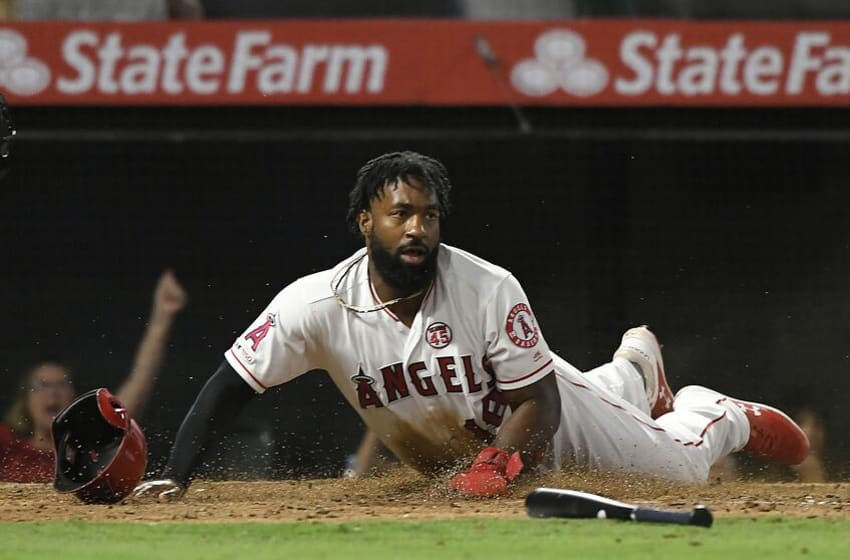 ANAHEIM, CA - JULY 30: Brian Goodwin #18 of the Los Angeles Angels of Anaheim looks up after being driven in by Shohei Ohtani #17 against the Detroit Tigers in the fifth inning against the Los Angeles Angels of Anaheim at Angel Stadium of Anaheim on July 30, 2019 in Anaheim, California. (Photo by John McCoy/Getty Images)