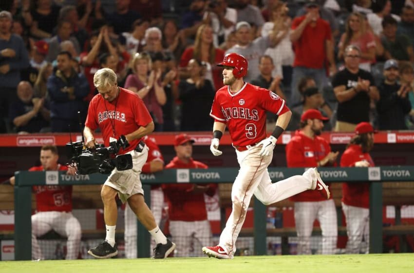 ANAHEIM, CALIFORNIA - SEPTEMBER 25: Taylor Ward #3 of the Los Angeles Angels of Anaheim rounds third base after hitting a solo homerun during the second inning of a game against the Oakland Athletics at Angel Stadium of Anaheim on September 25, 2019 in Anaheim, California. (Photo by Sean M. Haffey/Getty Images)