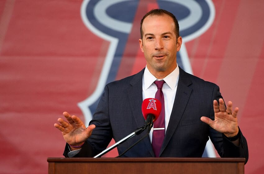 ANAHEIM, CA - DECEMBER 14: Los Angeles Angels general manager Billy Eppler answers questions during a press conference to introduce Anthony Rendon #6 at Angel Stadium of Anaheim on December 14, 2019 in Anaheim, California. (Photo by Jayne Kamin-Oncea/Getty Images)