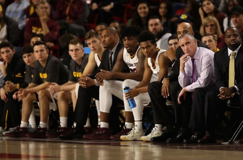 TEMPE, AZ - DECEMBER 19: Head coach Bobby Hurley (second from right) of the Arizona State Sun Devils looks on from the bench during the first half of the college basketball game against the Longwood Lancers at Wells Fargo Arena on December 19, 2017 in Tempe, Arizona. (Photo by Christian Petersen/Getty Images)
