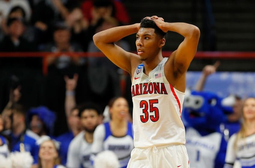 BOISE, ID - MARCH 15: Allonzo Trier #35 of the Arizona Wildcats reacts after missing a basket against the Buffalo Bulls during the first round of the 2018 NCAA Men's Basketball Tournament at Taco Bell Arena on March 15, 2018 in Boise, Idaho. (Photo by Kevin C. Cox/Getty Images)