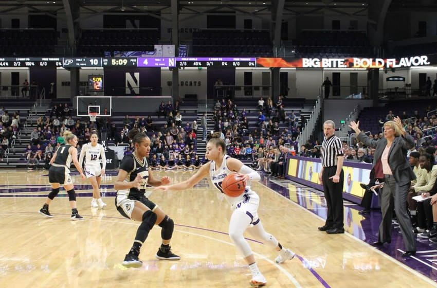 Northwestern's Lindsey Pulliam drives towards the basket against Purdue on Jan. 12 (Photo courtesy of Andy Brown)
