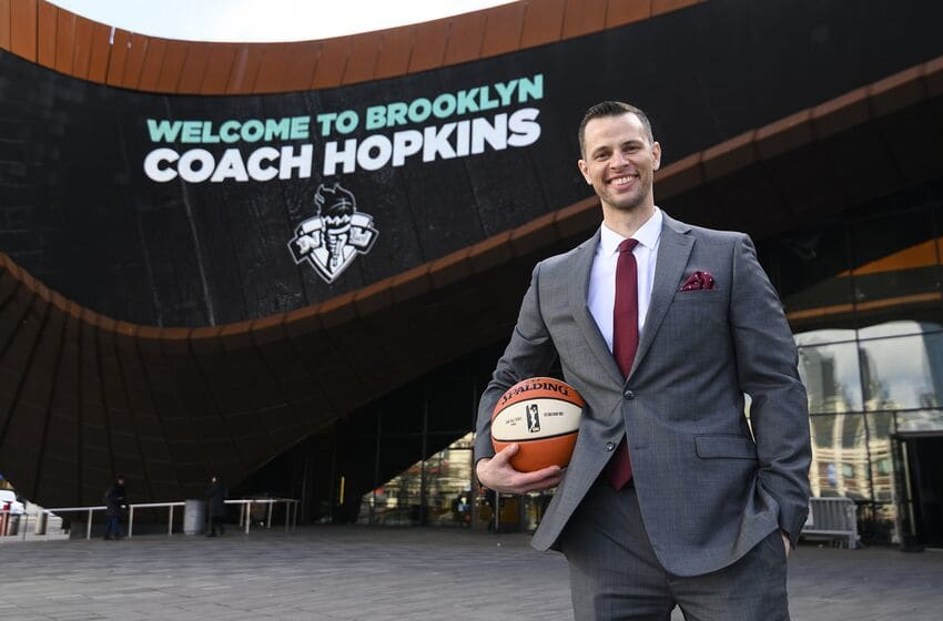 BROOKLYN, NY - JANUARY 8: Newly appointed, New York Liberty Head Coach Walt Hopkins poses for a photo during the New York Liberty press conference to announce new head coach Walt Hopkins on January 8, 2020 at Barclays Center in Brooklyn, New York. NOTE TO USER: User expressly acknowledges and agrees that, by downloading and or using this photograph, User is consenting to the terms and conditions of the Getty Images License Agreement. Mandatory Copyright Notice: Copyright 2020 WNBA (Photo by Mike Lawrence/WNBA via Getty Images)