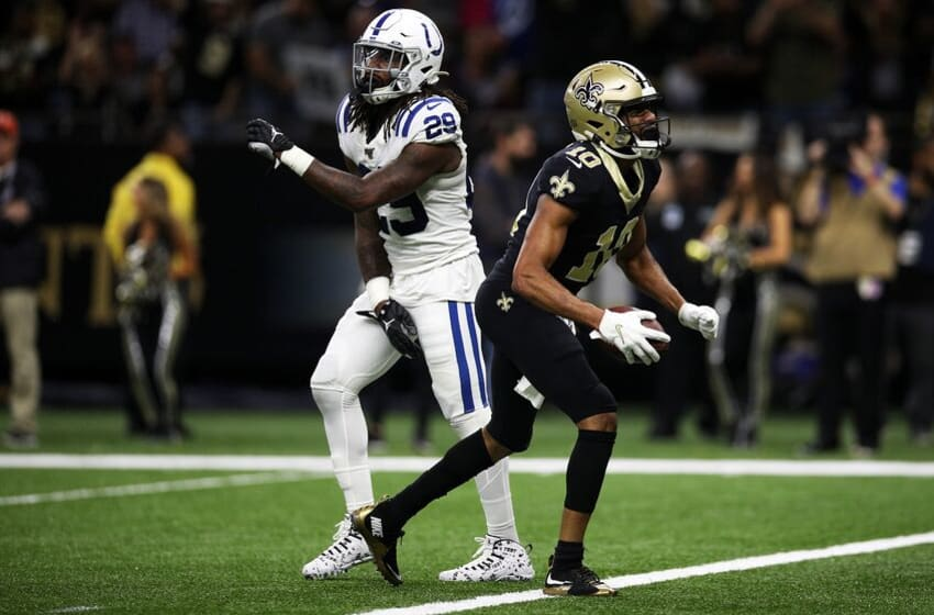 NEW ORLEANS, LOUISIANA - DECEMBER 16: Wide receiver Tre'Quan Smith #10 of the New Orleans Saints celebrates a touchdown over free safety Malik Hooker #29 of the Indianapolis Colts at Mercedes Benz Superdome on December 16, 2019 in New Orleans, Louisiana. (Photo by Chris Graythen/Getty Images)