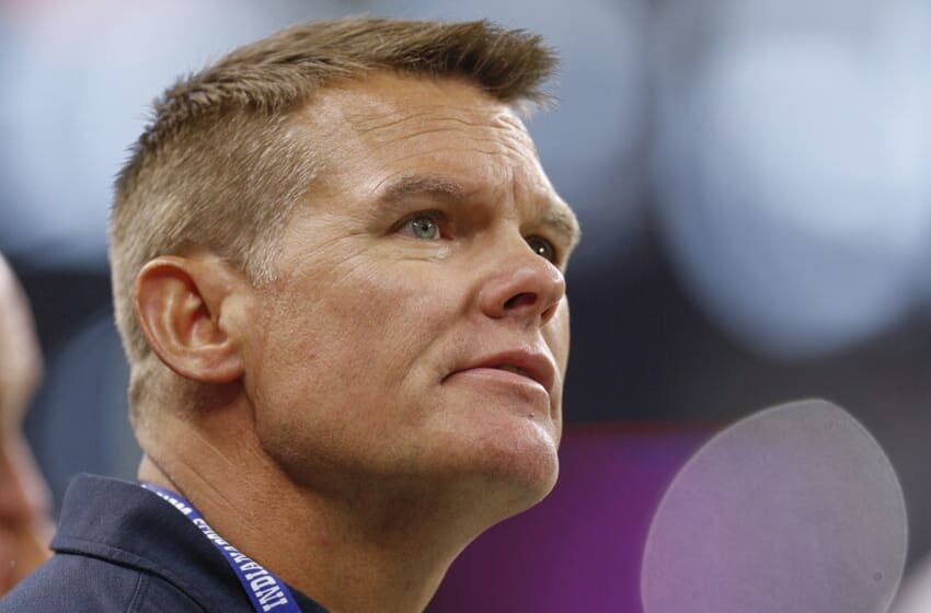 INDIANAPOLIS, IN - AUGUST 17: Indianapolis Colts general manager Chris Ballard is seen on the field during the preseason game against the Cleveland Browns at Lucas Oil Stadium on August 17, 2019 in Indianapolis, Indiana. (Photo by Michael Hickey/Getty Images)