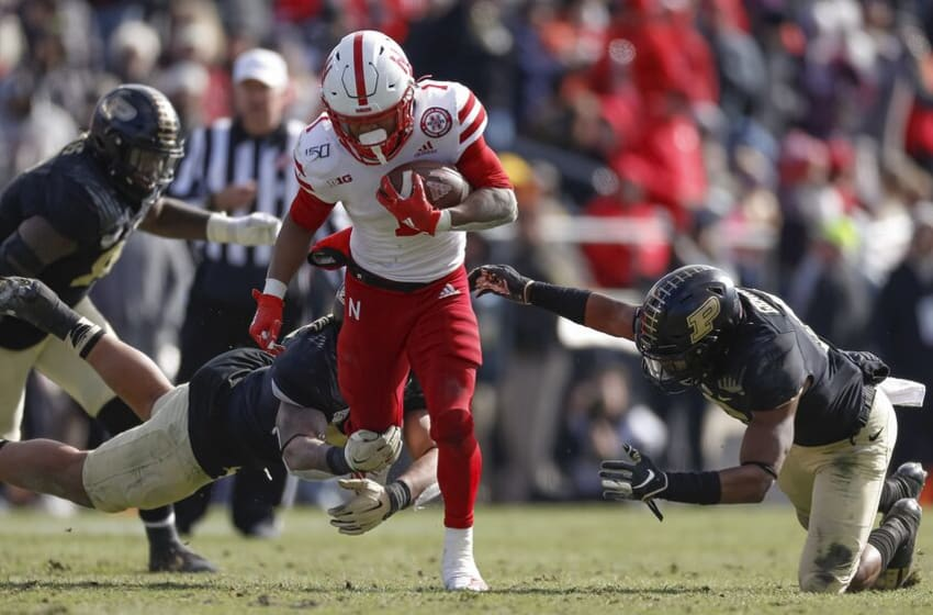 WEST LAFAYETTE, IN - NOVEMBER 02: Wan'Dale Robinson #1 of the Nebraska Cornhuskers runs the ball during the game against the Purdue Boilermakers at Ross-Ade Stadium on November 2, 2019 in West Lafayette, Indiana. (Photo by Michael Hickey/Getty Images)