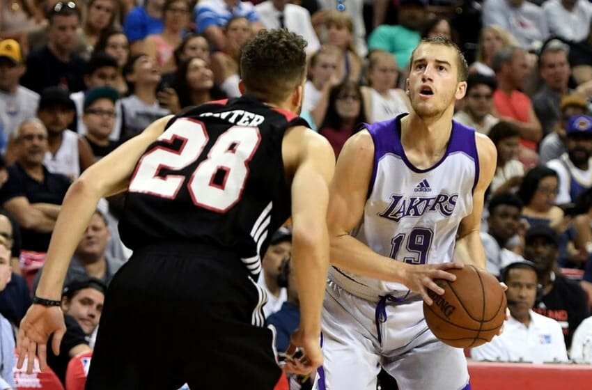 LAS VEGAS, NV - JULY 17: Matt Thomas #19 of the Los Angeles Lakers looks to shoot against R.J. Hunter #28 of the Portland Trail Blazers during the championship game of the 2017 Summer League at the Thomas & Mack Center on July 17, 2017 in Las Vegas, Nevada. Los Angeles won 110-98. NOTE TO USER: User expressly acknowledges and agrees that, by downloading and or using this photograph, User is consenting to the terms and conditions of the Getty Images License Agreement. (Photo by Ethan Miller/Getty Images)