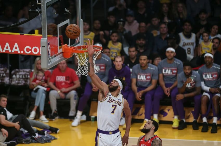 LOS ANGELES, CA - NOVEMBER 10: Los Angeles Lakers center JaVale McGee (7) shoots a layup during a NBA game between the Toronto Raptors and the Los Angeles Lakers on November 10, 2019 at STAPLES Center in Los Angeles, CA.(Photo by Jevone Moore/Icon Sportswire via Getty Images)