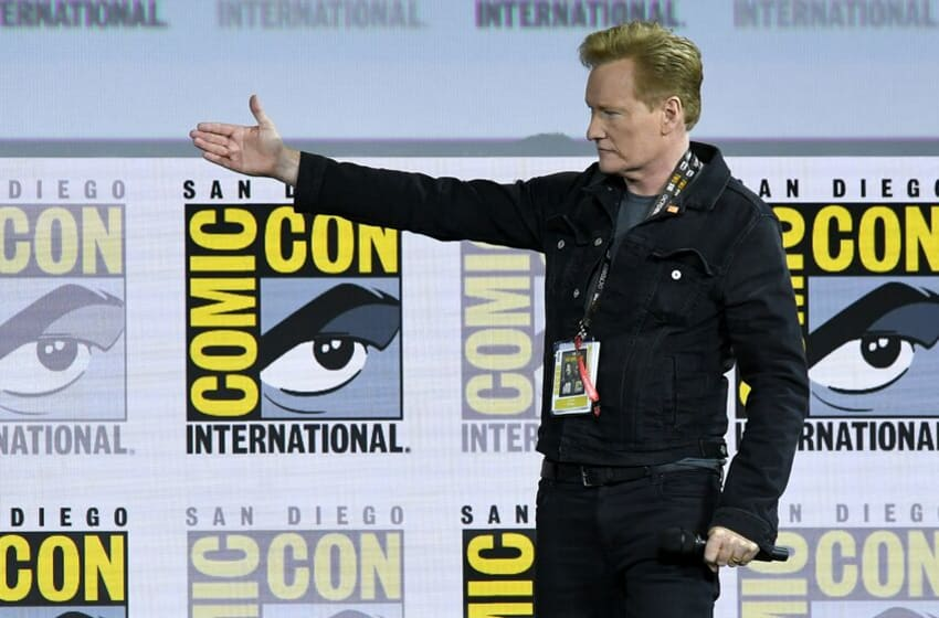SAN DIEGO, CALIFORNIA - JULY 18: Conan O'Brien introduces Tom Cruise for a surprise appearance to discuss