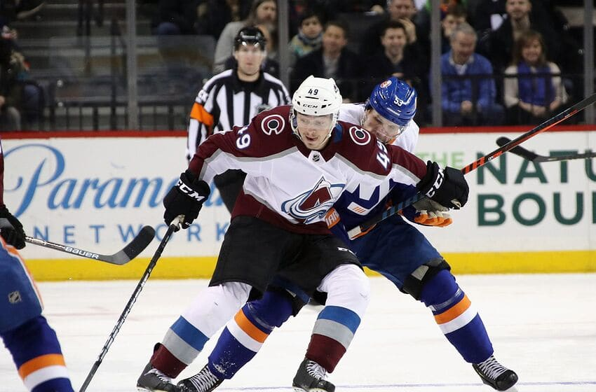 NEW YORK, NEW YORK - FEBRUARY 09: Samuel Girard #49 of the Colorado Avalanche skates against the New York Islanders at the Barclays Center on February 09, 2019 in the Brooklyn borough of New York City. The Islanders defeated the Avalanche 4-3. (Photo by Bruce Bennett/Getty Images)